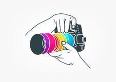 Fotografilogo, kamerabegreppsdesign Fotografering för Bildbyråer
