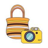 Fotografisch camera en zak geïsoleerd beeldverhaal vector illustratie