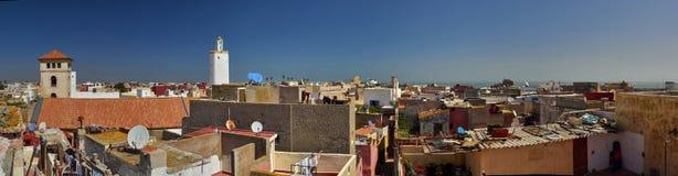 Fotografisch panorama van het dak van stad van Gr Jadida, helder w Stock Foto's