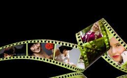 Fotografische film 35mm met kleurrijke binnen foto's Stock Fotografie