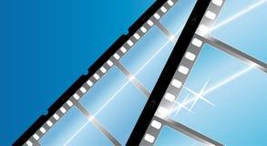 fotografisk blå filmstrip för bakgrund stock illustrationer