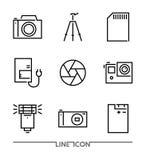 Fotografisymbolsuppsättning; Multimedia sänker den tunna linjen symbolsvektor Fotografering för Bildbyråer