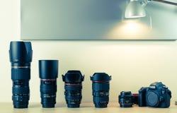 Fotografiutrustning - Canon EOS 6d och linser Royaltyfri Fotografi