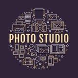 Fotografiutrustningaffisch med den plana linjen symboler Vektorcirkelillustration, begrepp för photostudiobroschyr digitalt royaltyfri illustrationer