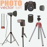 Fotografivektoruppsättning - samling av fotoutrustning royaltyfri illustrationer