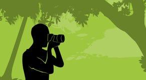 Fotografo all'aperto Hold Camera della natura della siluetta illustrazione vettoriale