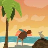 Fotografo Character On Beach del fumetto Fotografie Stock