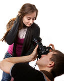 Fotografo con il modello Fotografia Stock Libera da Diritti
