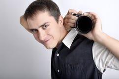 Fotografo con la macchina fotografica digitale Fotografia Stock Libera da Diritti