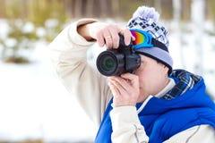 Fotografo degli sport invernali fotografia stock