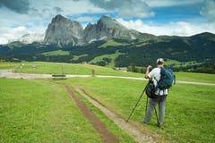 Fotografo del paesaggio e della natura in dolomia Fotografie Stock