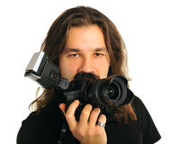 Fotografo del ritratto con una macchina fotografica Immagini Stock