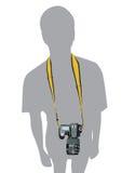 Fotografo dell'uomo DSLR della macchina fotografica di vettore illustrazione di stock