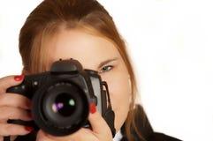 Fotografo della donna Fotografie Stock Libere da Diritti