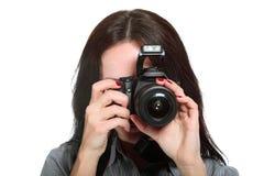 Fotografo della giovane donna Immagine Stock