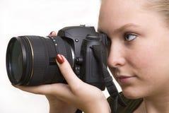 Fotografo della giovane donna Immagini Stock Libere da Diritti