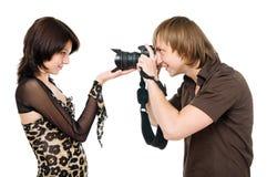 Fotografo e modello Fotografie Stock