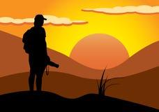 Fotografo nel tramonto illustrazione di stock