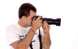 Fotografo occupato sul lavoro Fotografia Stock