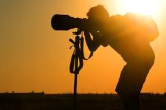 Fotografo Silhouette Fotografia Stock Libera da Diritti