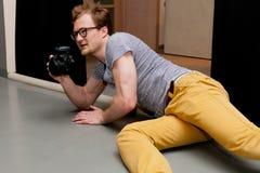 Fotografo sul lavoro Fotografia Stock