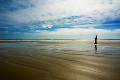 Fotografo sulla spiaggia Fotografia Stock