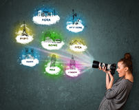 Fotografo turistico che fa le immagini dei posti famosi intorno a w Immagine Stock