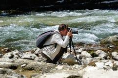Fotografować w sławnym Hiszpańskim jarze Foz de Lumbier Zdjęcia Stock