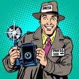 Fotografpaparazzi på kameran för arbetspressmassmedia Arkivbilder