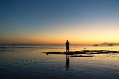 Fotografsonnenuntergangschattenbild stockfotografie