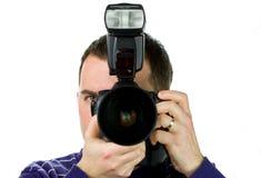 fotografståendesjälv Arkivbild