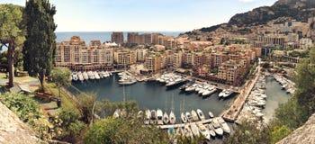 Fotograph panoramique de port Fontvielle, Monaco Image stock