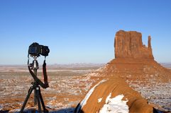 Fotographia di corsa e di paesaggio, hobby della macchina fotografica Fotografie Stock Libere da Diritti