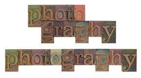 Fotographie im Weinlesehhhochhdrucktypen Stockfotos