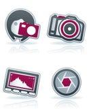 Fotographien-Ikonen eingestellt Stockbild