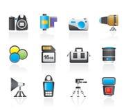 Fotographienausrüstung und Hilfsmittelikonen Lizenzfreie Stockbilder