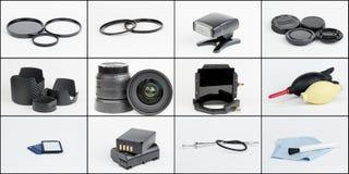 Fotographienausrüstung und Zubehörcollage Lizenzfreies Stockbild