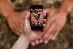 Fotohand, die Baum pflanzt Stockbild