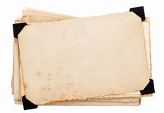 Fotokaart met zwarte hoek. oude grungy document bladen royalty-vrije stock foto's