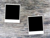 Fotokaart op houten lijst stock afbeelding