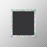 Fotokader met gekleurde confettien stock illustratie