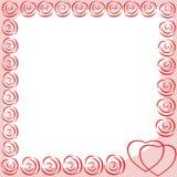 Fotokader met harten en abstracte rozen stock illustratie