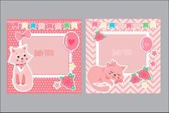 Fotokaders voor Jonge geitjes Decoratief Malplaatje voor Babymeisje Plakboek Vectorillustratie Royalty-vrije Stock Foto's