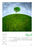 Fotokalender met minimalistisch landschap 2015 Stock Foto's