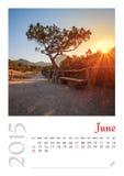 Fotokalender met minimalistisch landschap 2015 Royalty-vrije Stock Fotografie