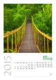 Fotokalender mit unbedeutendem Stadtbild und Brücke 2015 Stockfotografie
