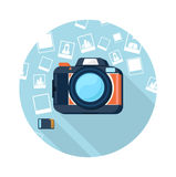 Fotokamera med bilder Arkivbild