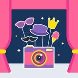 Fotokamera med stöttor och båsgardiner Royaltyfri Bild