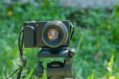 Fotokamera som monteras på tripoden Royaltyfria Foton