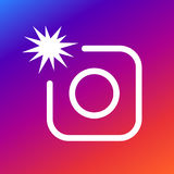Fotokamera-Zeichenikone mit Blitz Grelles Symbol des Fotos Moderne UI-Websitenavigation Lizenzfreies Stockbild